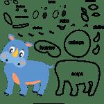 Molde de animal rinoceronte2 para Eva, Feltro e Artesanato