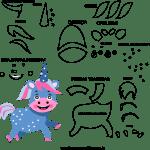 Molde de animal unicórnio3, para Eva, Feltro e Artesanato