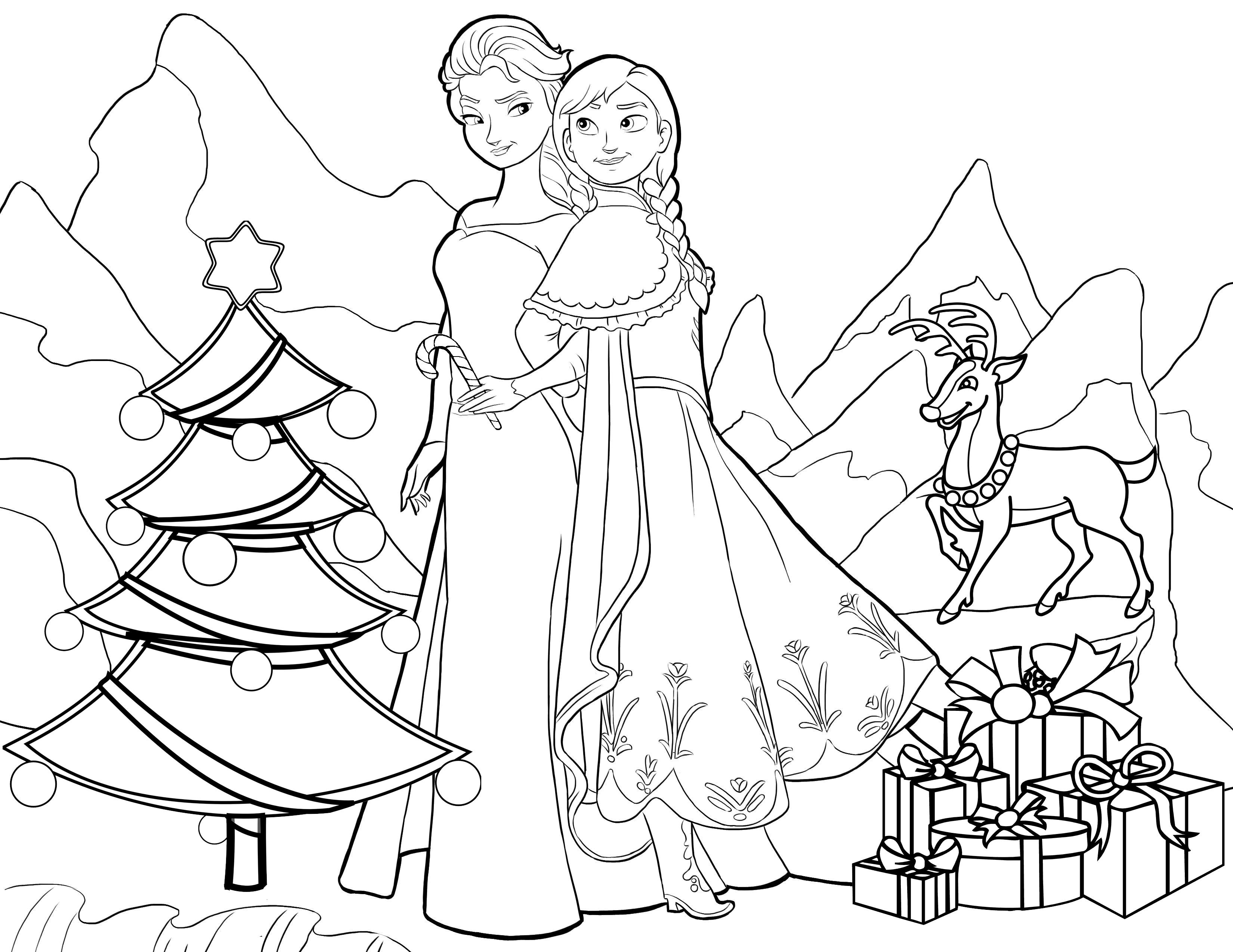 desenhos para colorir anna e elsa christmas