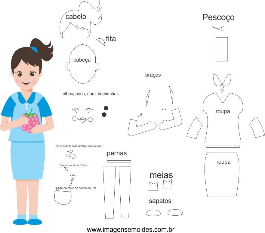 Molde de Nutricionista 2 para Eva, Feltro e Artesanato