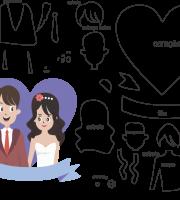Molde de casamento 11 para eva, feltro e artesanato