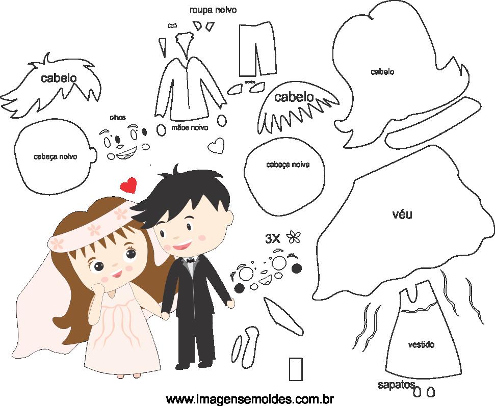 Molde de casamento 13 para eva, feltro e artesanato