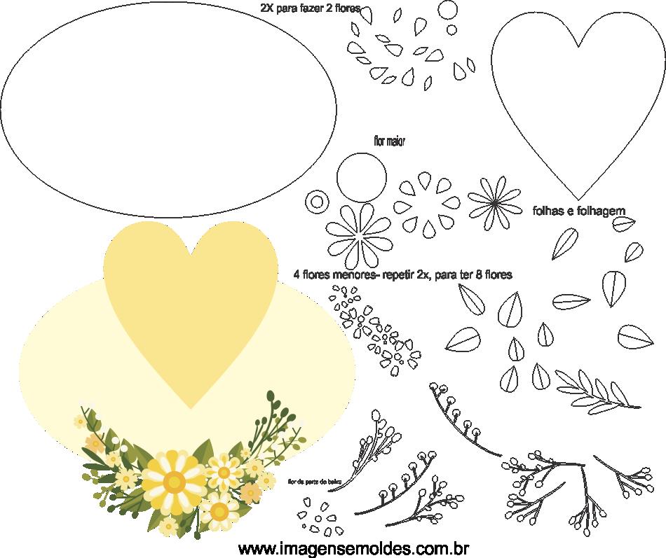 Molde de Casamento 18 para Eva, feltro, e artesanato