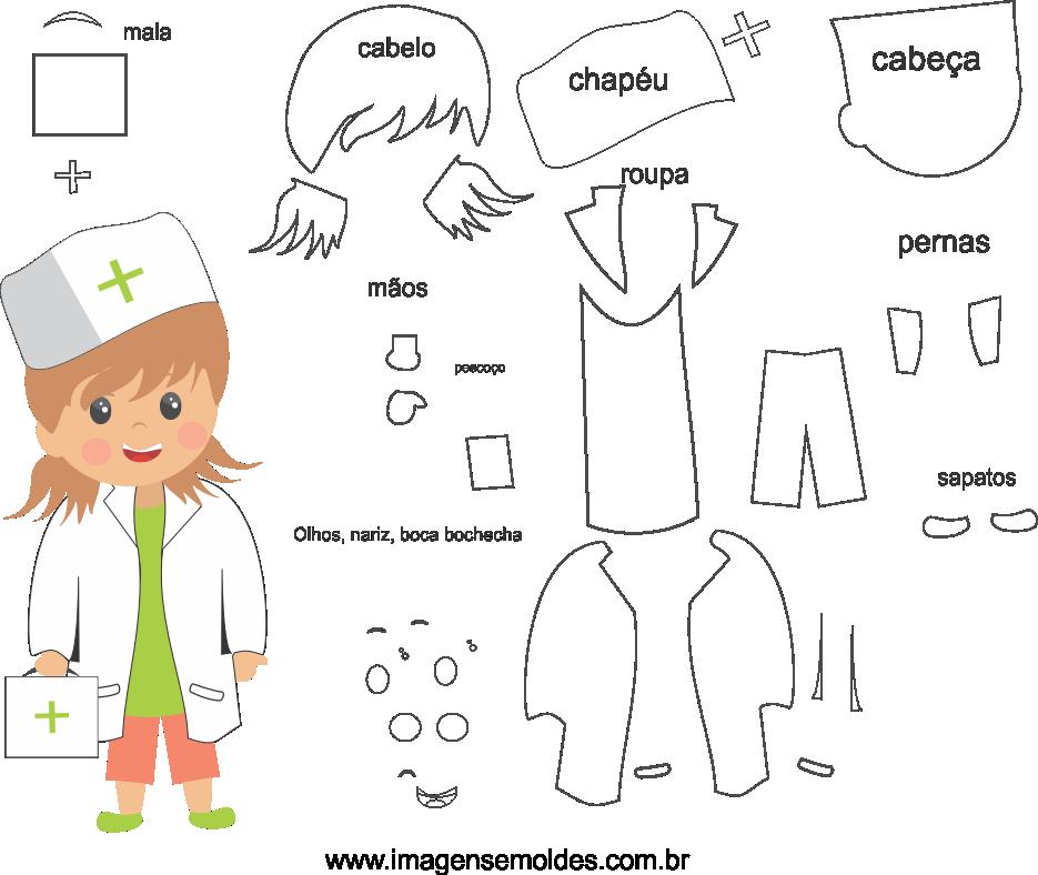 Molde de Enfermeira 1 para eva, feltro e artesanato