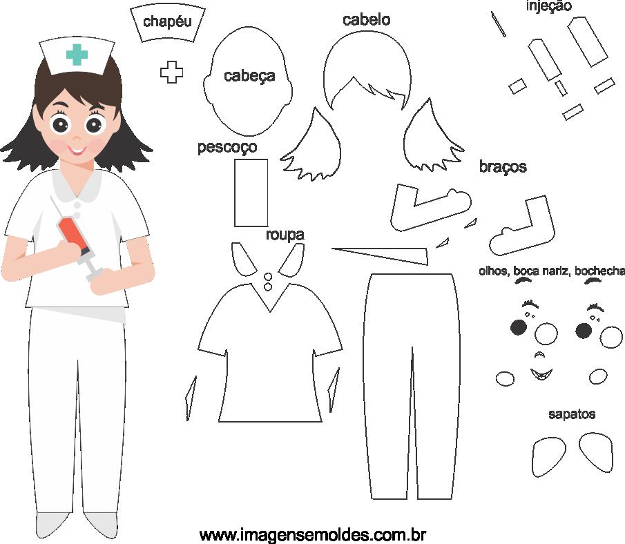 Molde de Enfermeira 2 para eva, feltro e artesanato
