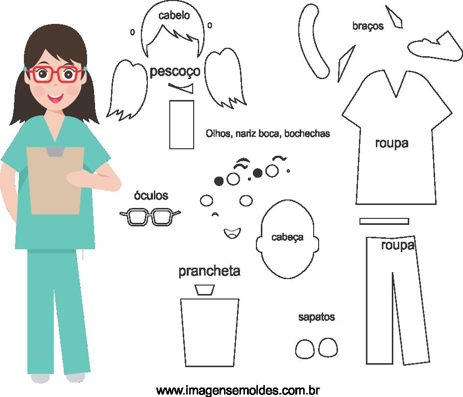 Molde de enfermeira 3 para eva, feltro, e artesanato