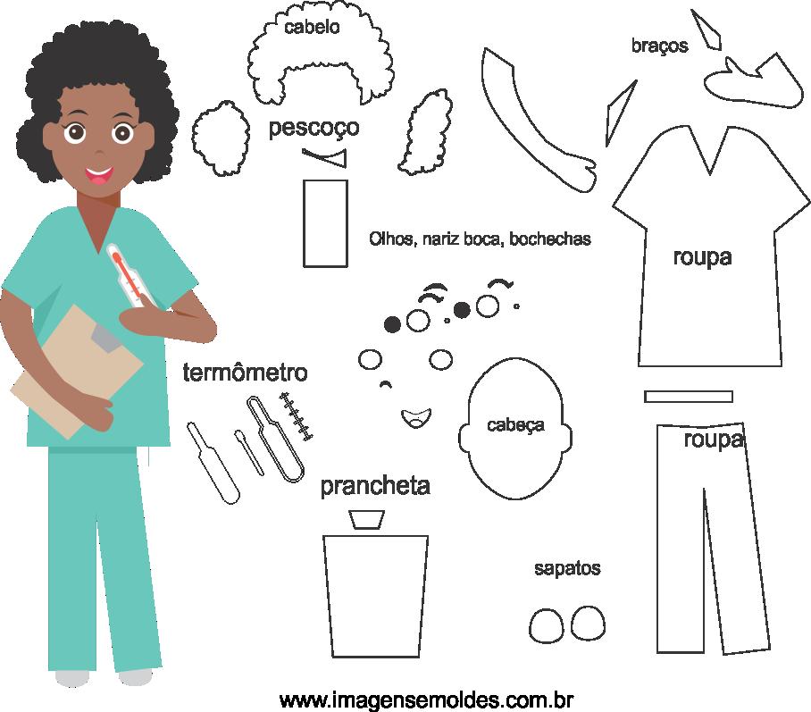 Molde de enfermeira 4 para feltro, eva e artesanato