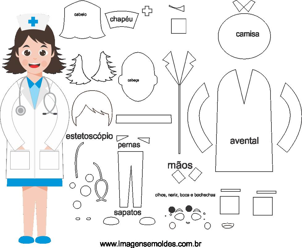 Molde de Enfermeira 5 para eva, feltro e Artesanato