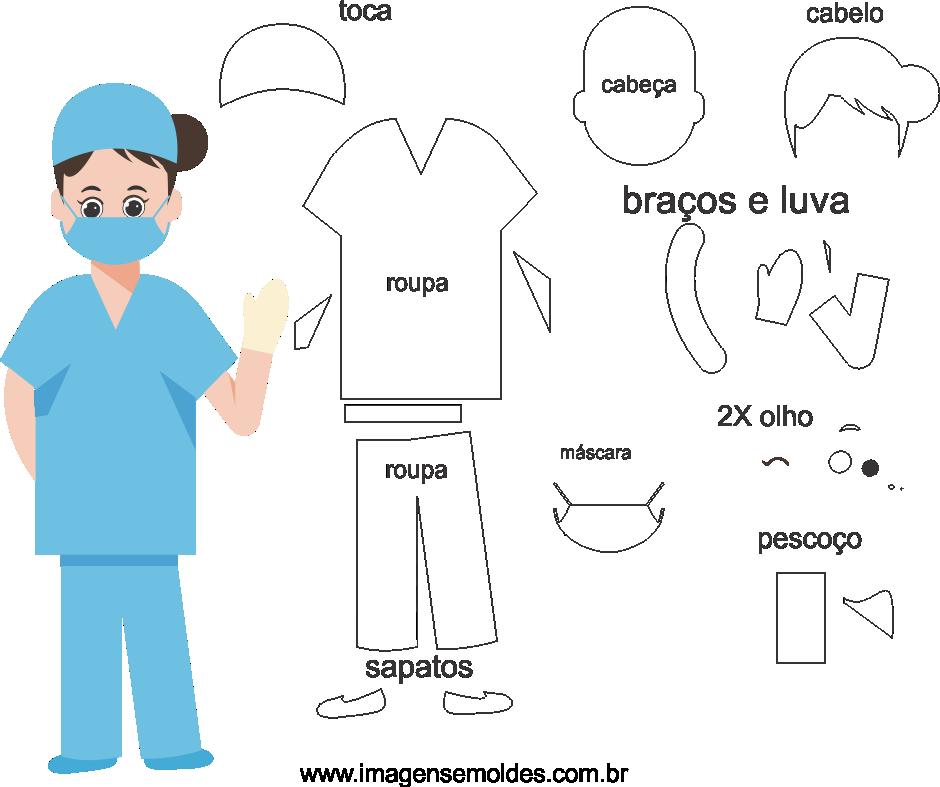 Molde de médica 4 para eva, feltro, e artesanato