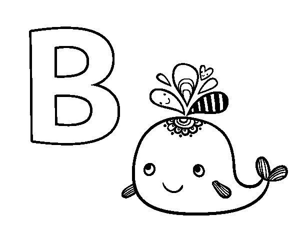 desenho para colorir da letra b de baleia