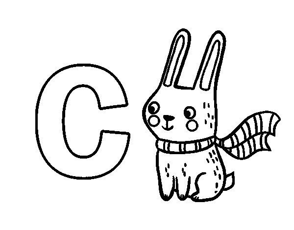 desenho para colorir da letra c de coelho