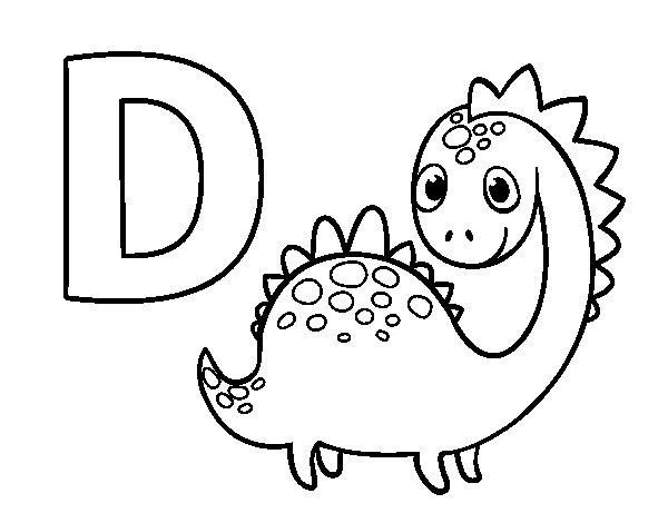 desenho para colorir da letra d de dinossauros