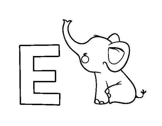 desenho para colorir da letra e de elefante