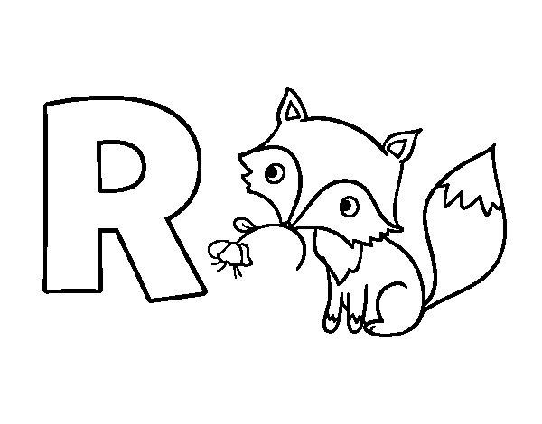desenho para colorir da letra r de raposa