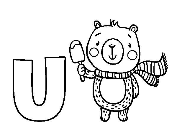 desenho para colorir da letra u de urso