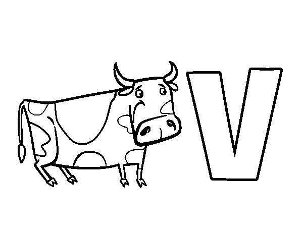 Desenho De Letra Z De Zoológico Para Colorir: Desenho Para Colorir Da Letra V De Vaca