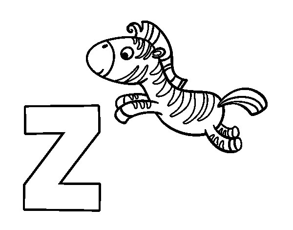 desenho para colorir da letra z de zebra