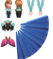 Molde Princesa Ana Frozen Paper Craft frente PNG