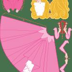 Molde Princesa Aurora Paper Craft PNG