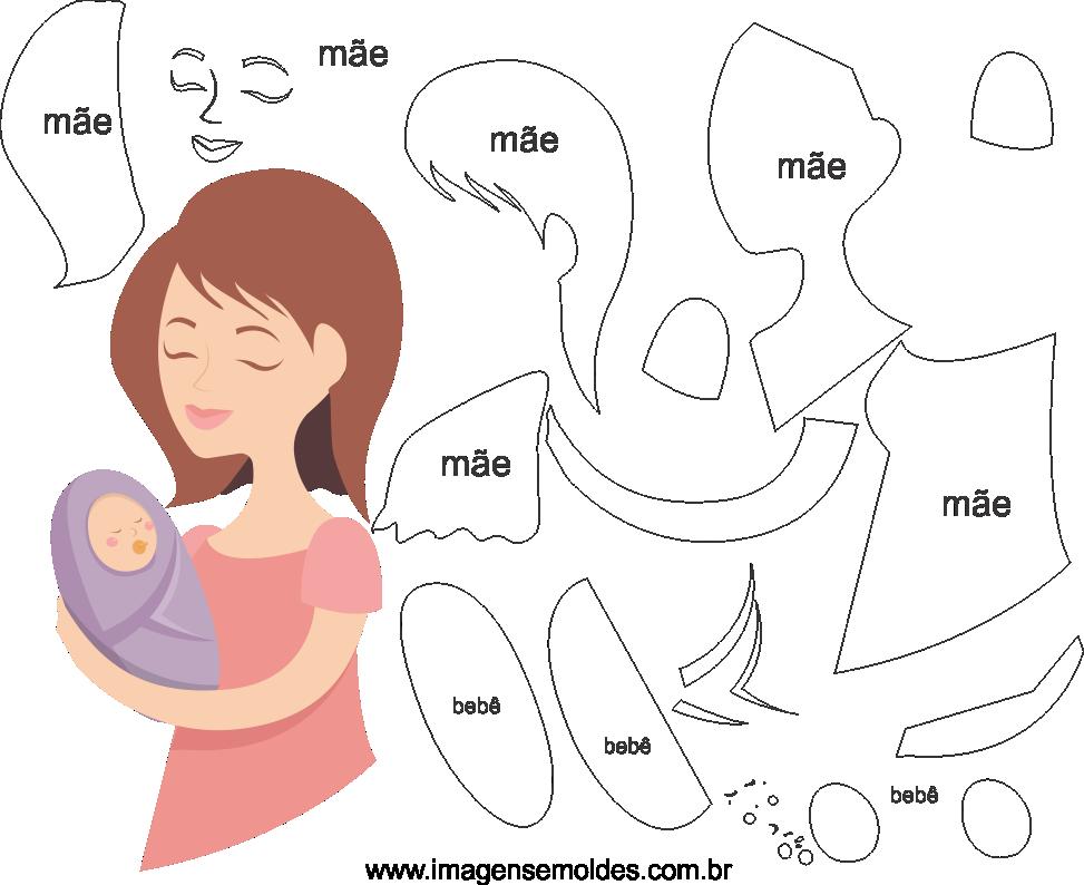 Molde de dia das Mães 18 para Eva, Feltro e Artesanato