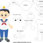 Molde de  Marinheiro 1 para Feltro, Eva e Artesanato