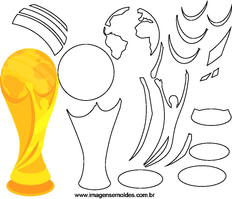 Molde de Copa do Mundo 5 para Eva, Feltro e Artesanato