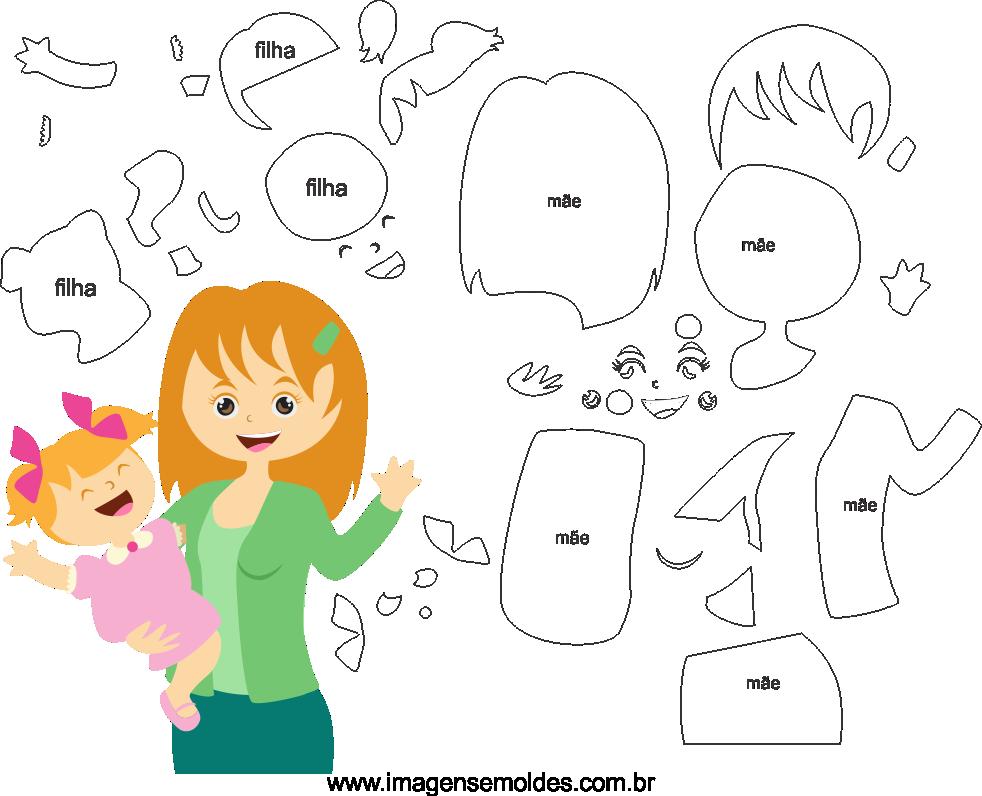 Molde de dia das Mães 31 para Eva, Feltro e Artesanato
