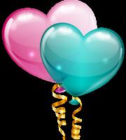 Balões - Balão Coração Rosa e Azul Petróleo