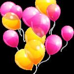 Balões – Conjunto de Balões Amarelo e Rosa PNG