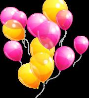Balões - Conjunto de Balões Amarelo e Rosa