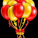 Balões – Conjunto de Balões Vermelho e Dourado PNG
