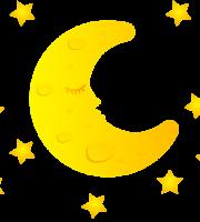 Imagem Lua - Lua Crescente com Estrelas