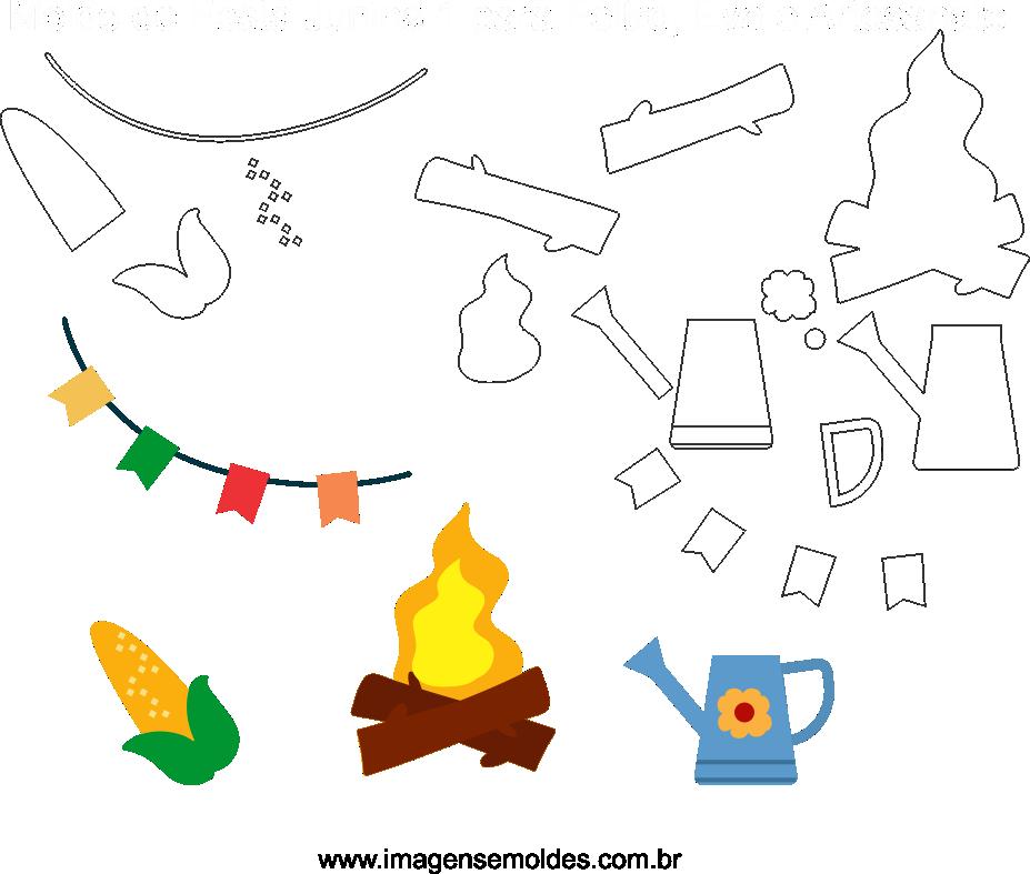 Molde de Festa Junina 1 para Eva, Feltro e Artesanato