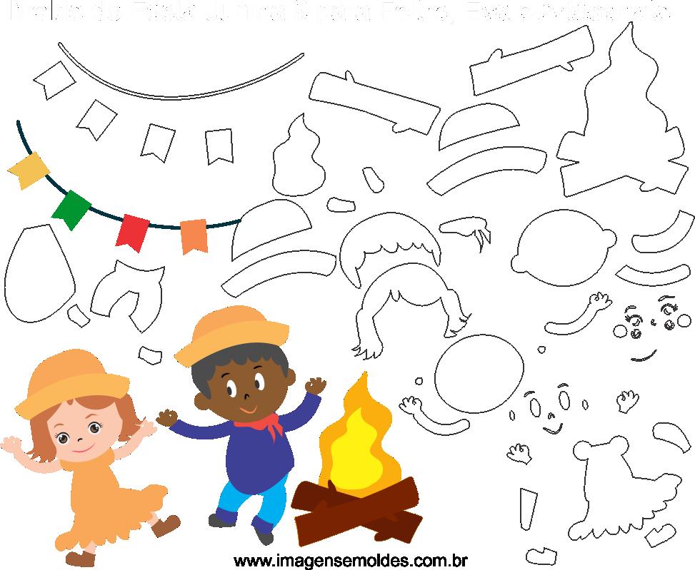 Molde de Festa Junina 10 para Feltro, Eva e Artesanato
