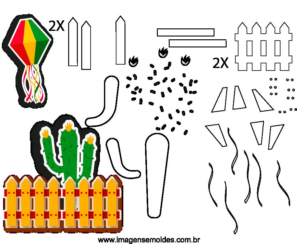 Molde de Festa Junina 4 para Eva, Feltro e Artesanato