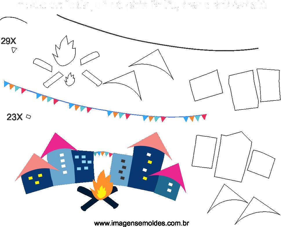 Molde de Festa Junina 13 para Eva, Feltro e Artesanato