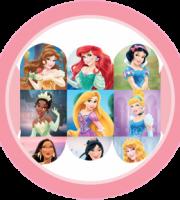 Tag Digital de 5cm Princesas da Disney para Festa de Aniversário