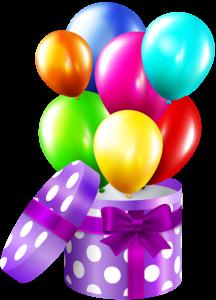 Imagem de Festa - Caixa surpresa com Bexigas de Aniversário PNG