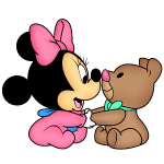 Turma do Mickey Minnie Baby e Urso PNG