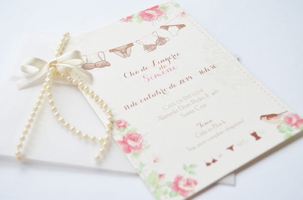 convite para chá de ligerie