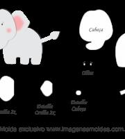 Molde de Animais - Elefante - para EVA, Feltro e Artesanato