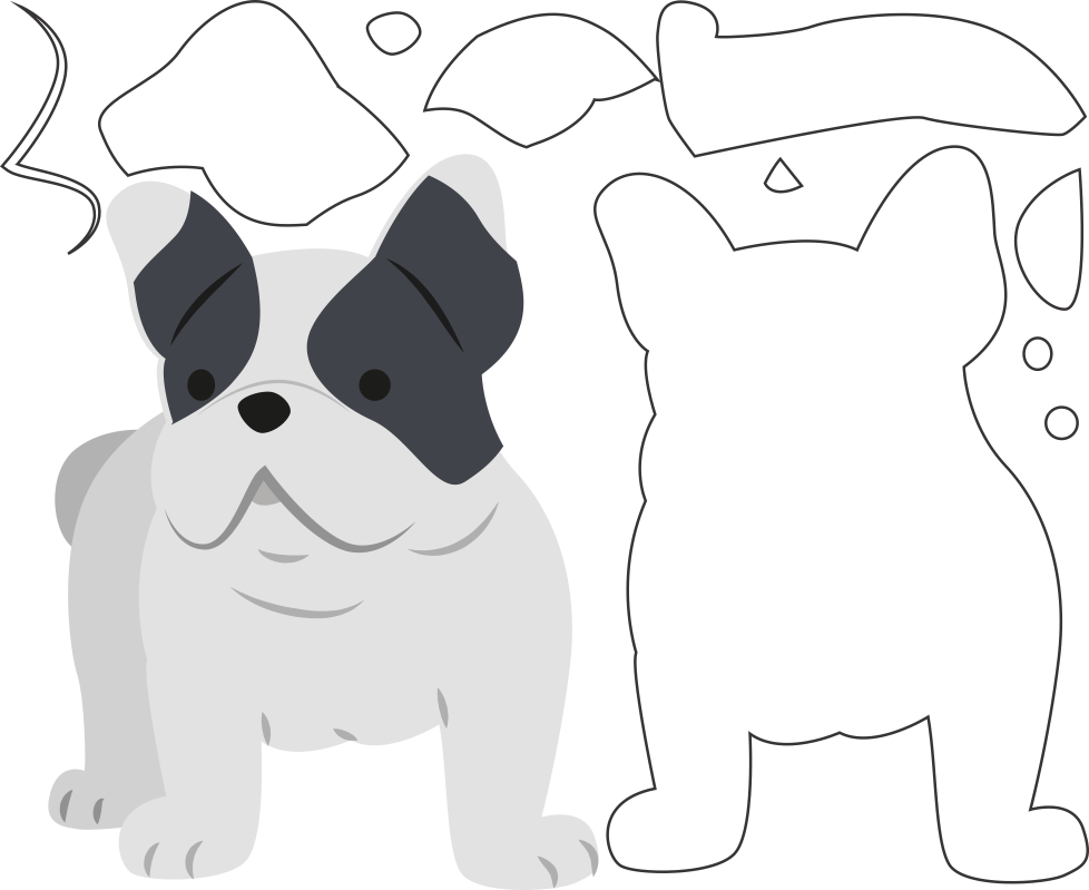 Molde de Cachorro para Eva - Feltro e Artesanato, Dog Template for Eva - Felt and Crafts, Plantilla de perro para Eva - Fieltro y manualidades, Hundeschablone für Eva - Filz und Basteln