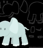 Molde de Elefante para EVA - Feltro e Artesanatos