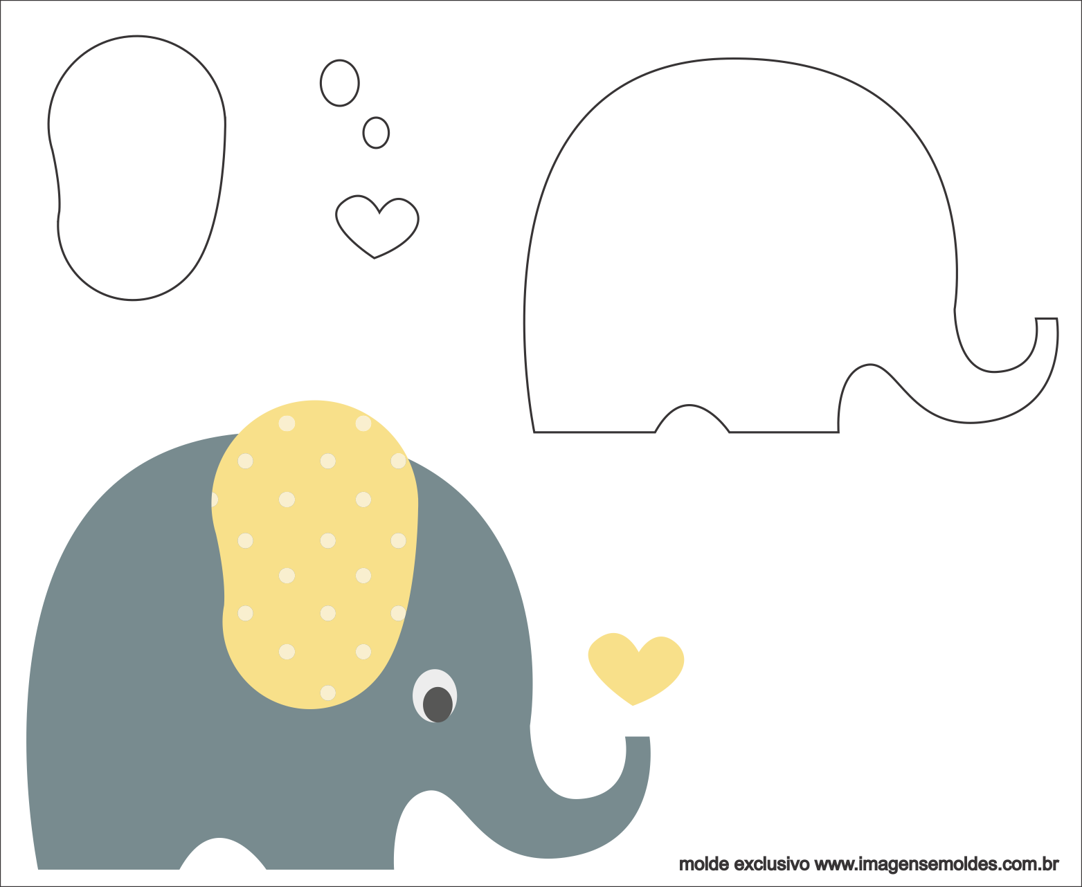 Molde De Elefante Para Feltro Eva E Artesanato 2