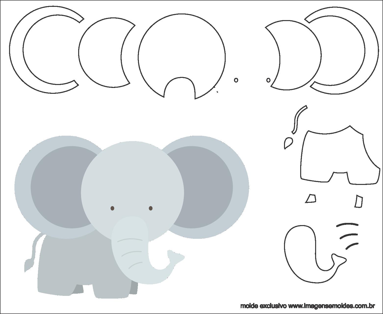 Molde de Elefante para EVA - Feltro e Artesanato 2