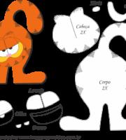 Molde de Garfield Porta Maçaneta para EVA - Feltro e Artesanato2