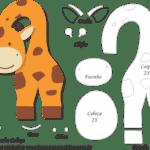 Molde de Girafa Porta Maçaneta para Feltro – EVA e Artesanato