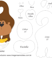 Molde de Macaco Porta Maçaneta para EVA - Feltro e Artesanato