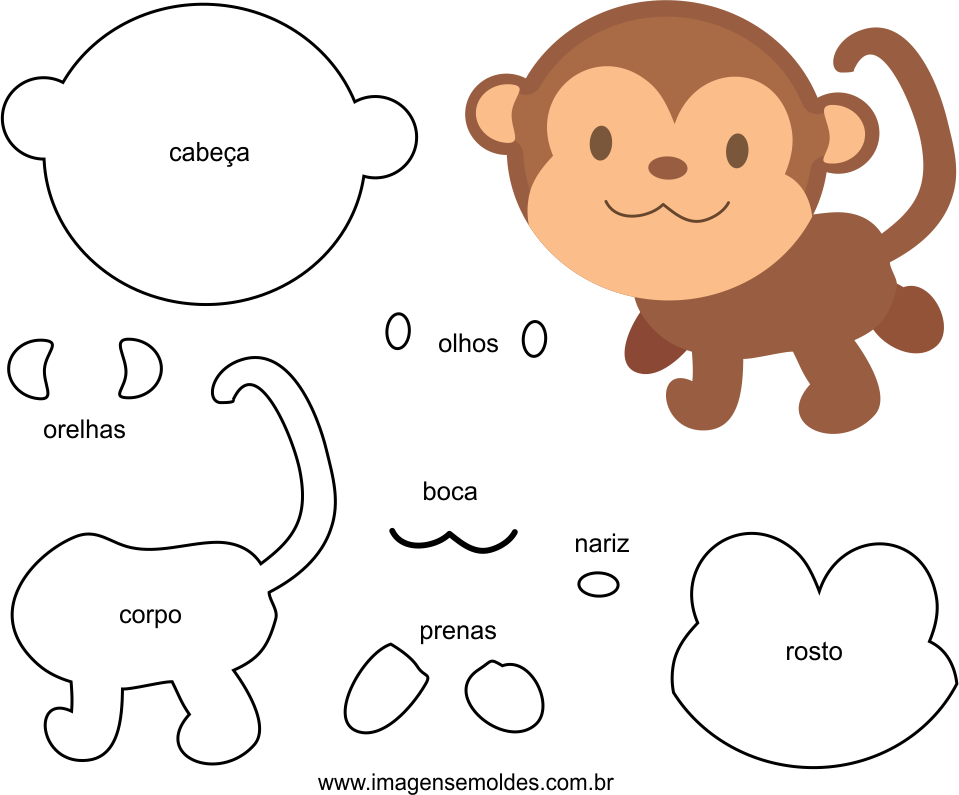 Molde de Macaco para EVA Feltro e Artesanato, Felt Monkey Mold - EVA and Crafts, Molde de fieltro para mono - EVA y manualidades, Filz Affenform - EVA und Kunsthandwerk