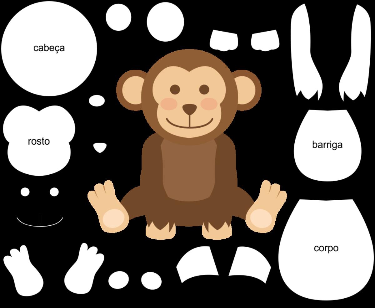 Molde de Macaco para Feltro - EVA e Artesanato 3 com PDF grátis!
